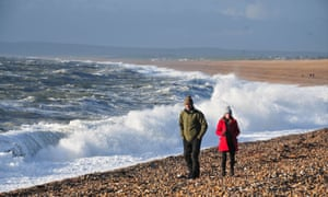 Storm Atiyah batters Chesil Beach in Portland with gusts of up to 80mph.