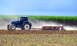 A tractor ploughs a sugarcane field in north Queensland