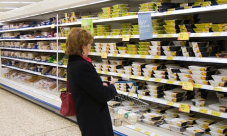 The ready meal aisle of a Tesco Extra