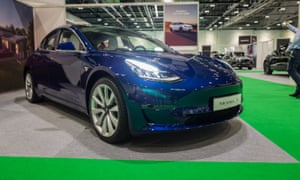 A Tesla Model 3 at the 2019 London Motor Show