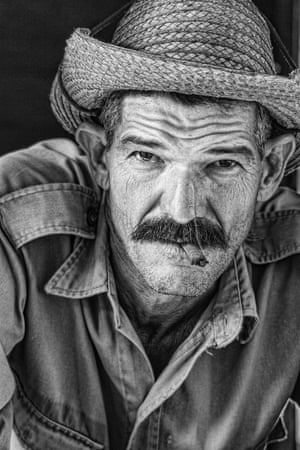 Black and white portrait of a tobacco farmer in the Viñales valley, Cuba.