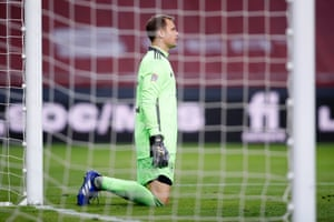 Germany's captain Manuel Neuer reacts after Spain's fourth.