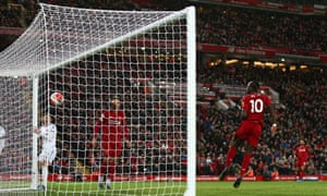 Sadio Mané converts into an empty net to score the winning goal for Liverpool against West Ham at Anfield.