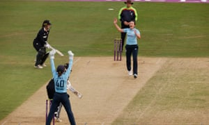 Out: England's Kate Cross celebrates after taking the wicket of New Zealand's Sophie Devine.