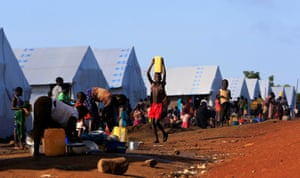South Sudanese refugees in the Palabek camp in Lamwo, Uganda