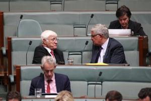 The member for Kennedy Bob Katter talks to the minister for Indigenous health Ken Wyatt