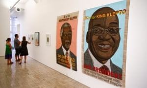 Anton Kannemeyer's E is for Exhibition features satirical images of Jacob Zuma and Thabo Mbeki.