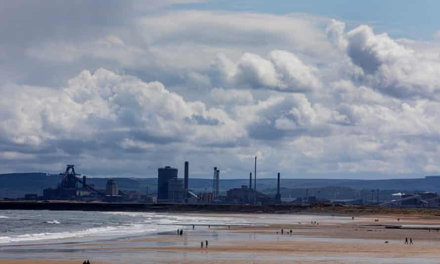 Seaton Carew Beach at Hartlepool with the SSI steelworks in the background.