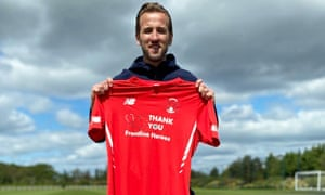 Harry Kane with Orient's home shirt.