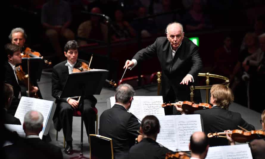 Daniel Barenboim conducts the Staatskapelle Berlin at the Royal Albert Hall, London, during this year's Proms.