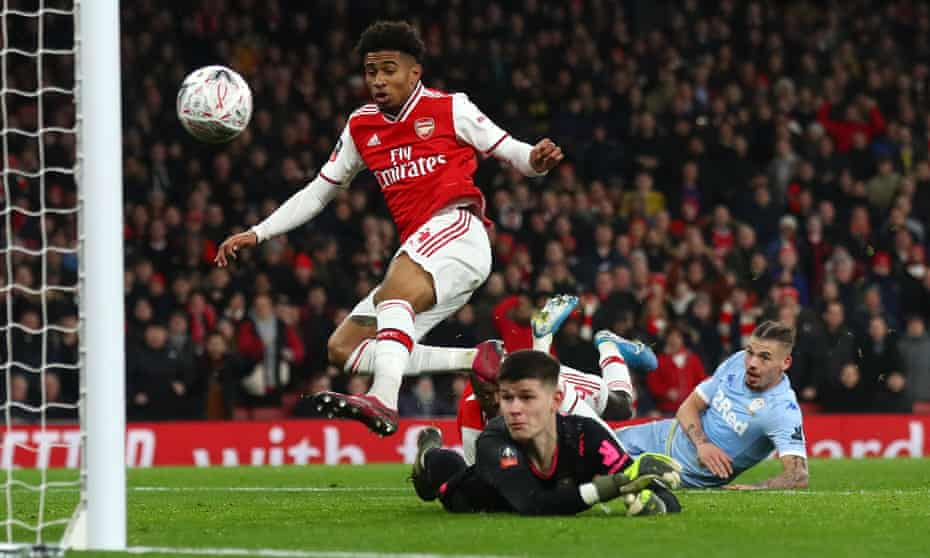 Reiss Nelson scores for Arsenal against Leeds in the FA Cup in January.