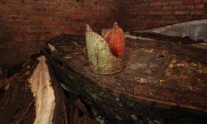 One of the lead coffins, with gold-painted mitre, found in the vault beneath St Mary-at-Lambeth.