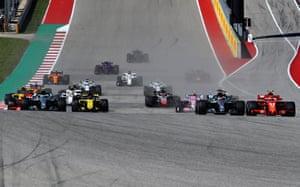 Raikkonen leads Hamilton into turn one.