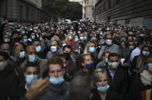 Marseille, France. Restaurant and bar owners protest against a government order to close all public venues in the city from Saturday to curb rising coronavirus cases