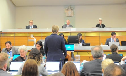 On the bench, left to right, Commissioner Andrew Murray, Justice Peter McClellan, Justice Jennifer Coate preside at the royal commission's public hearings in Ballarat.