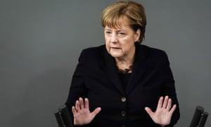 Angela Merkel speaks to the German parliament.