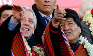 Morales (right) with his vice-president, Alvaro Garcia Linera, in 2014