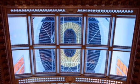 Looking up into illuminated Rotunda dome and glass oculus at Ickworth.