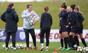 Phil Neville leads an England training session in 2018.