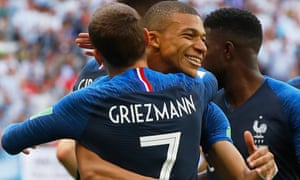 Antoine Griezmann and Kylian Mbappe celebrate at the World Cup in Russia.