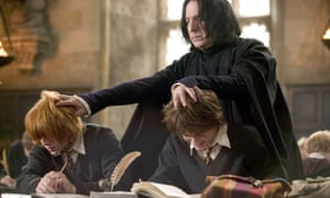 Alan Rickman as Severus Snape, with Rupert Grint and Daniel Radcliffe in the film version of Harry Potter and the Goblet of Fire.