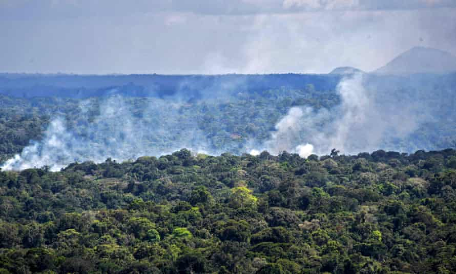 Smoke from a fire in the Amazon rainforest in Oiapoque, Amapa state