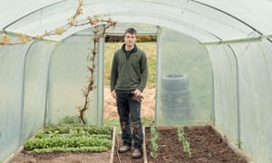 Huw Richards in a polytunnel