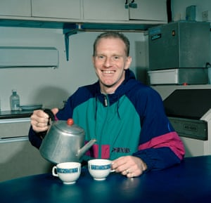 Andy Ritchie making a brew after training in 1990.