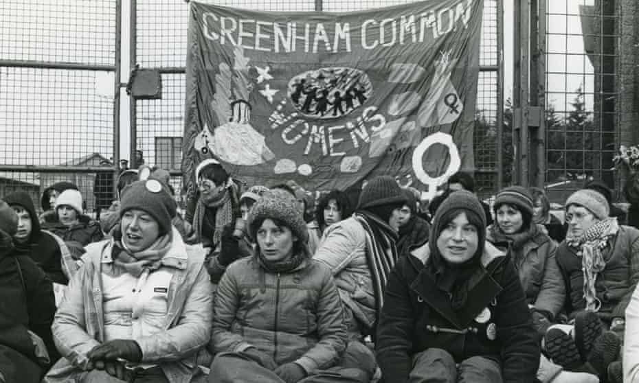 A group of women blockade RAF Greenham Common to support 38 women who were being tried for obstruction and breaching the peace in February 1983