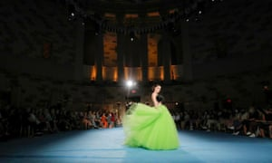 A model presents a creation from the Christian Siriano Spring/Summer 2022 collection during New York Fashion Week at Gotham Hall in Manhattan