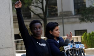 Patricia Okoumou after leaving federal court from her arraignment in New York City on 5 July.