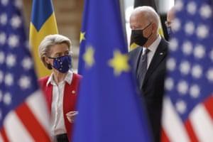Joe Biden is welcomed by President of the European Commission Ursula von der Leyen ahead of the EU-US summit.