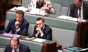 Dan Tehan and Wyatt Roy sit in the seats occupied by Tony Abbott and Joe Hockey during the previous sitting week.
