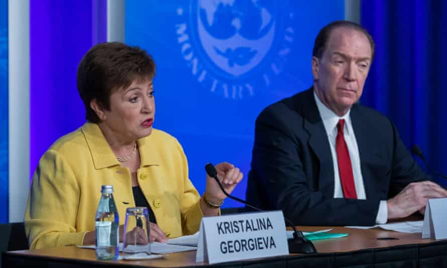 The IMF's Kristalina Georgieva with the World Bank's head, David Malpass, at Wednesday's briefing.