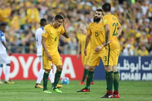 Frustration on the faces of Cahill and Jedinak as the first half wears on without any serious opportunities.