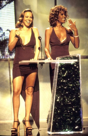 At the 1998 MTV Video Music Awards with Whitney Houston, performing a skit in matching Vera Wang slip dresses that almost didn't happen. Mariah's dress didn't arrive at the venue and had to be bought to the theatre via police escort.