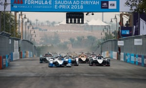 BMW's António Félix da Costa leads the start of a Formula E race in Saudi Arabia, December last year.