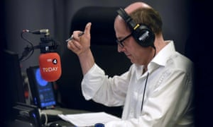 BBC radio 4 Today programme broadcaster Nick Robinson in the studio