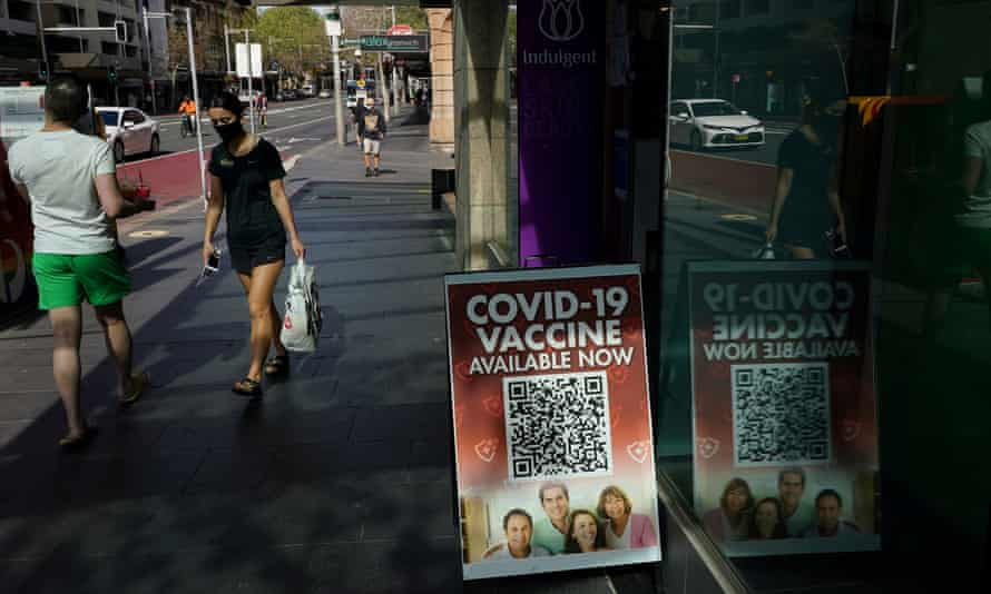 A Covid vaccination sign outside a pharmacy in the Sydney's CBD