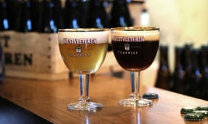 Two of the varieties of Trappist beer brewed at St Sixtus abbey.