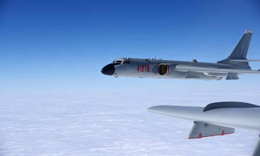 A Chinese bomber on patrol in the South China Sea. One US commander has said China could invade Taiwan in the coming years.