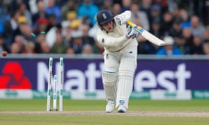 Jason Roy is bowled by Josh Hazlewood late on day three at Old Trafford
