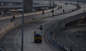 A partially deserted road is seen during the Sunday lockdown imposed as a preventive measure against the spread of the Covid-19 coronavirus in Chennai, India