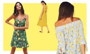 BA&SH lemon printed mini dress, £150, from Asos; Tie-back midi dress, £39, Warehouse; Lemon print bardot top, £16, Sainsburys.