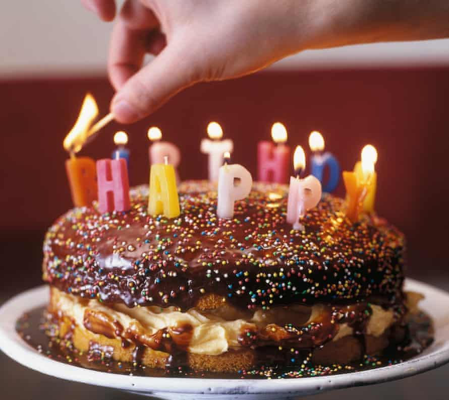 Birthday custard sponge.