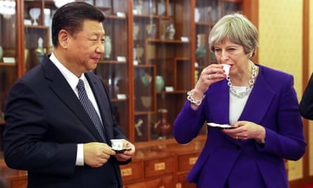 Theresa May with Xi Jinping, China's president.