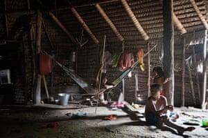Marubo children in the village of Rio Novo: (left to right) Kai, Metsis and Vena