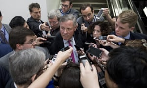 Republican Senate intelligence chairman Richard Burr speaks to reporters. He called the timing of Comey's dismissal 'troubling'.
