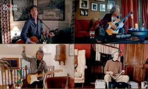 Rolling Stones members Mick Jagger, Keith Richards, Ronnie Wood and Charlie Watts perform