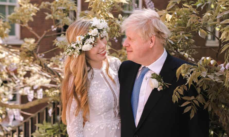 Boris and Carrie Johnson in the garden of 10 Downing Street following their wedding at Westminster Cathedral.